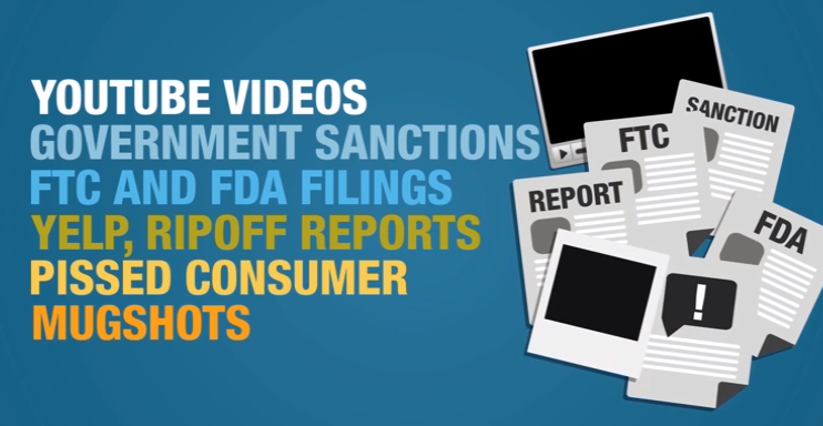 youtube government listings consumer reports FTC FDA mugshots ripoff reports yelp